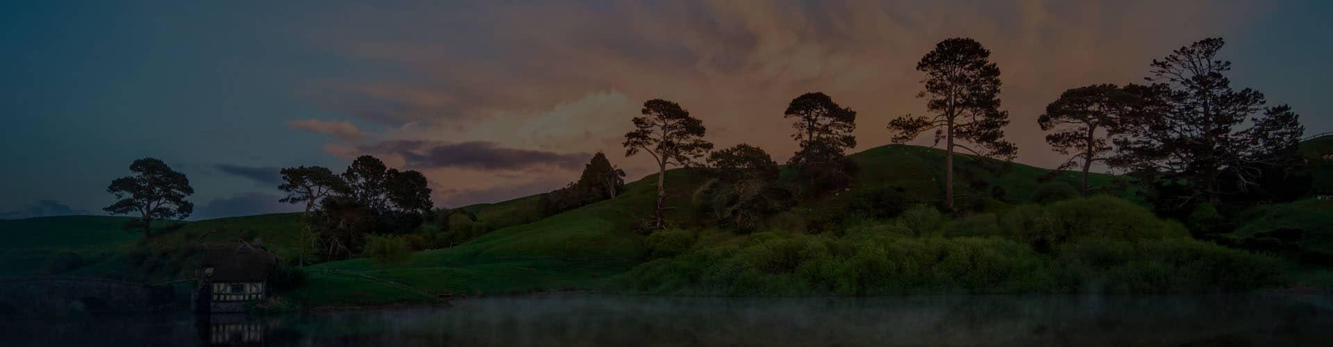 Новозеландский пейзаж на закате