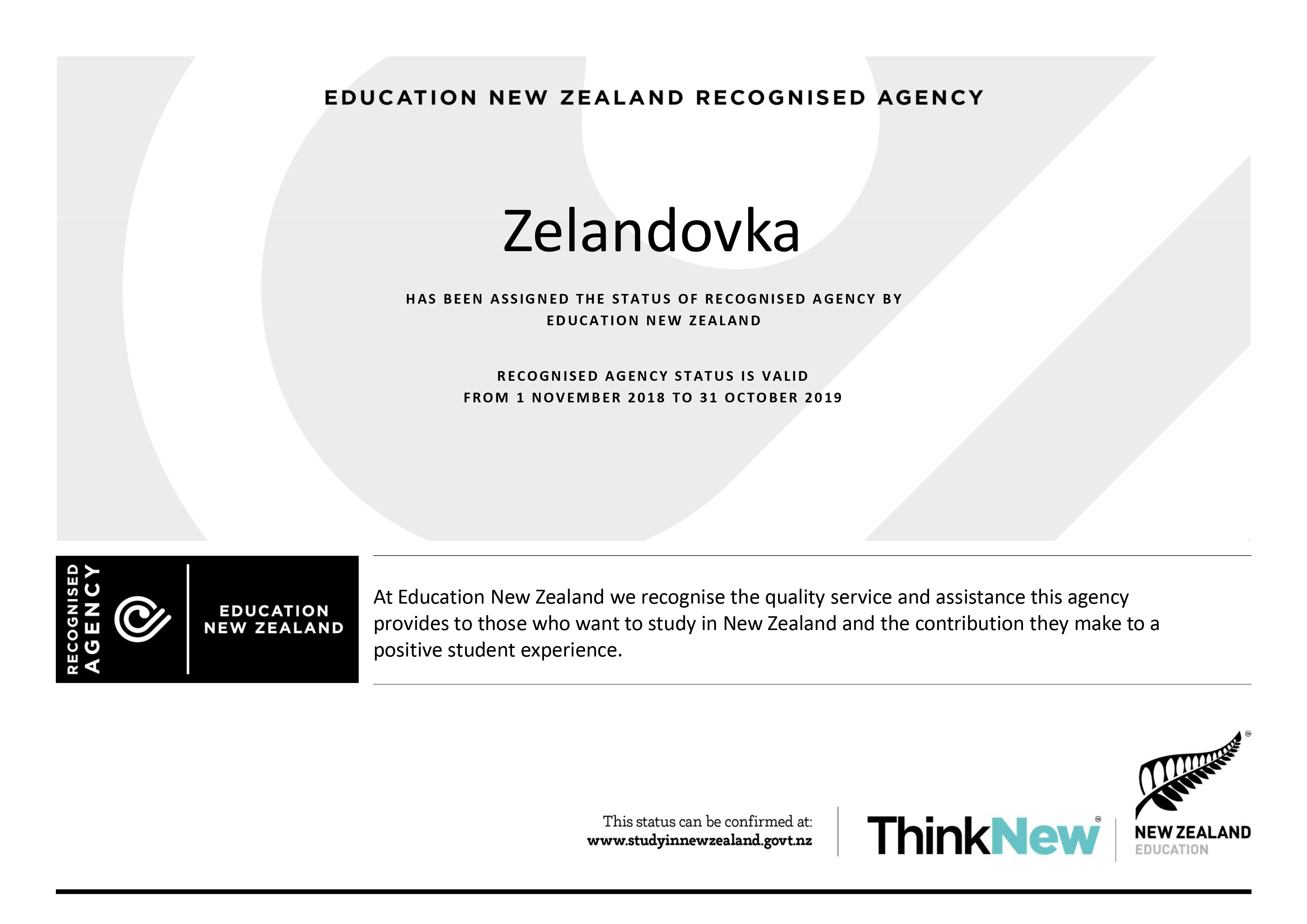 Zelandovka - ENZ Recognised Agency